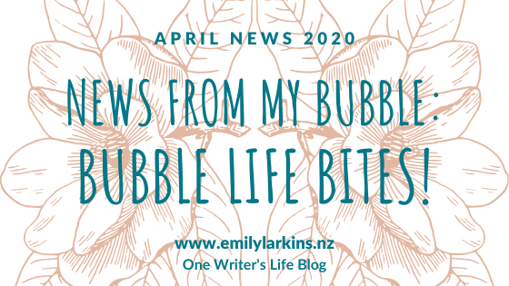Picture News Header Image One Writer's Life April News. White background, blush flowers, blue text.