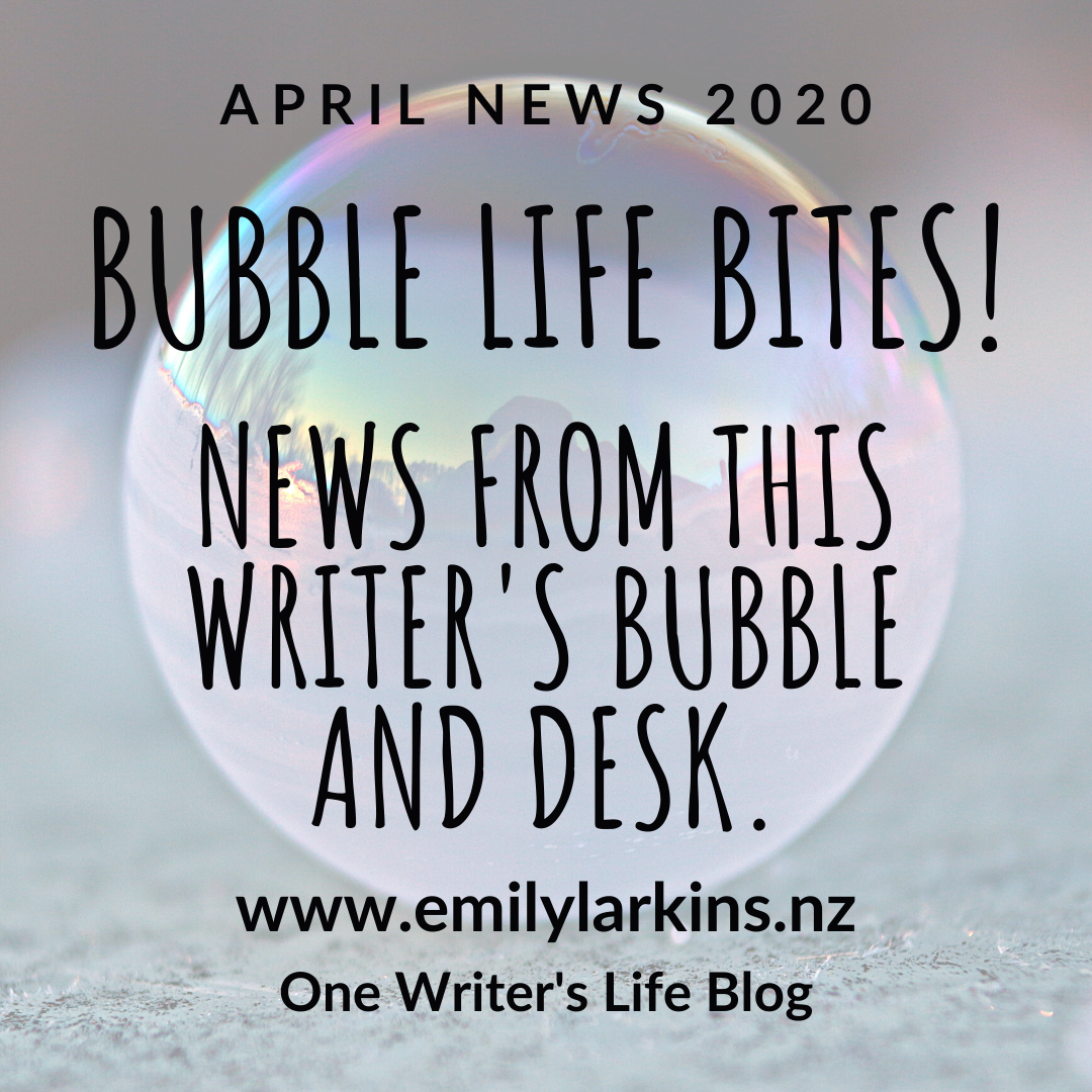 Picture background of bubble on ice. April news text: Bubble Life Bites! News from this writer's bubble and desk.