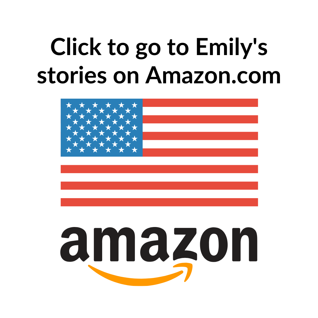 Direct site link to Emily's books and stories on Amazon.com. Amazon logo and flag.