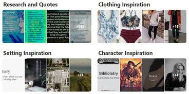 Snapshot of Emily Larkins Author's Pinterest board - a story inspiration board for her novel,