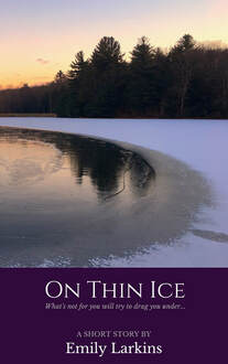Cover art for On Thin Ice, by Emily Larkins. An icy pond with a backdrop of trees.