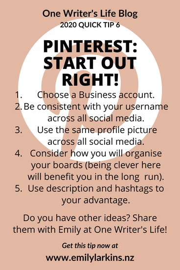 Picture Quick Tip 6, Pinterest: Start Out Right step summary
