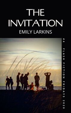 Picture Book Cover The Invitation. Silhouettes of people on the beach at dusk with campfire. Speargrass overlay.