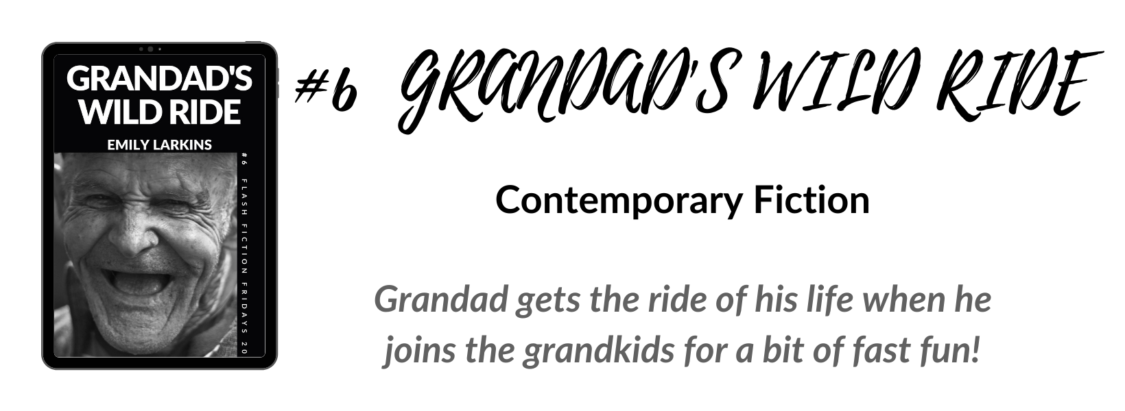 Book six cover, contemporary fiction story Grandad's Wild Ride. Hilarious antics and family adventures.