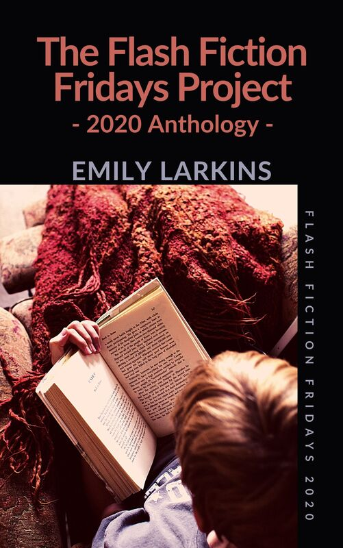 Picture cover image of The Flash Fiction Fridays Project: 2020 Anthology, black background with deep-pink text, picture from above of person (could be male or female) tucked up with a blanket over their legs and reading a book. A cozy image.