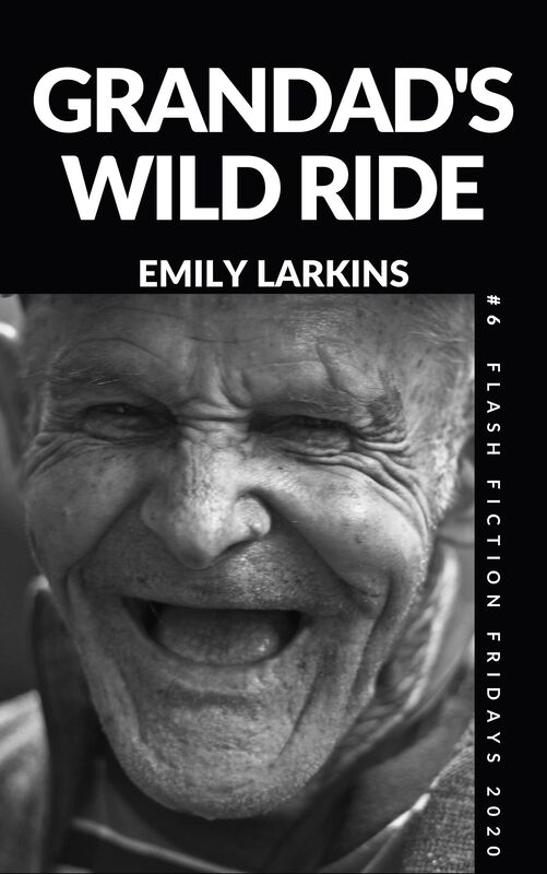 Picture Cover Grandad's Wild Ride. Close-up image of old man's face laughing