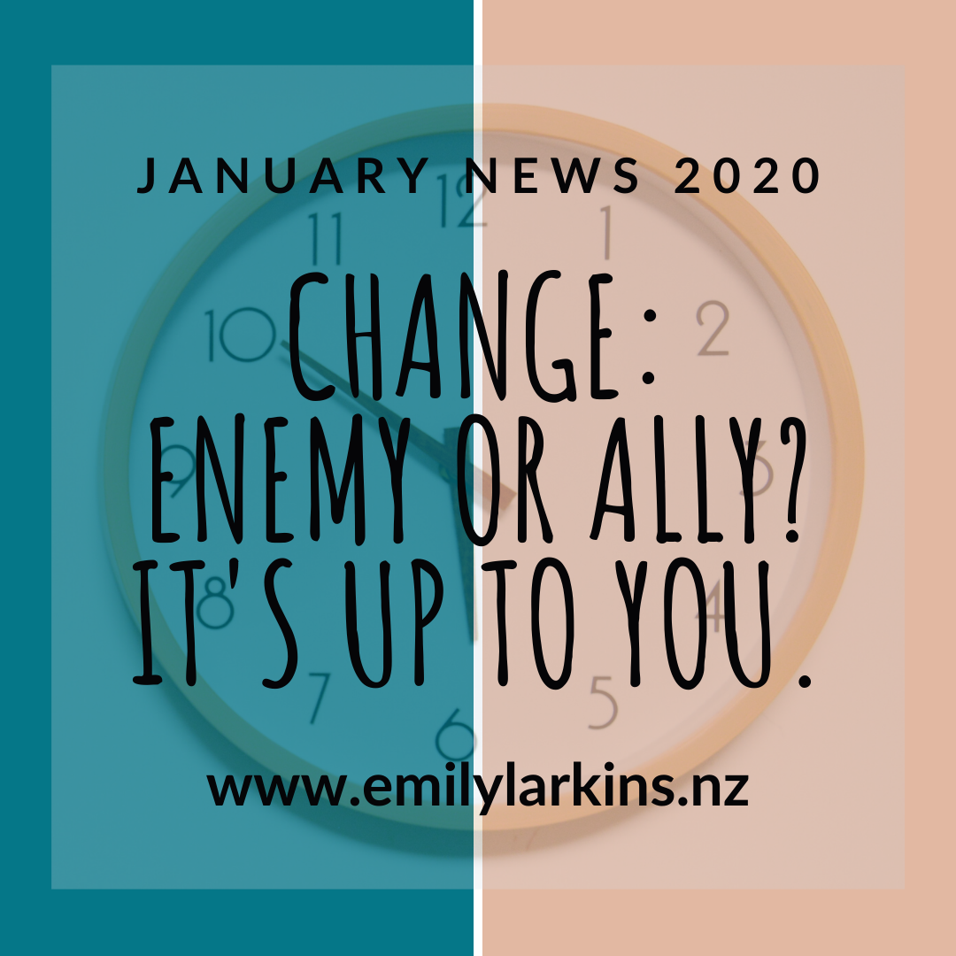 January News instagram image for Emily Larkins's January news 2020. Change: Enemy or Ally? It's up to you. Clock background.