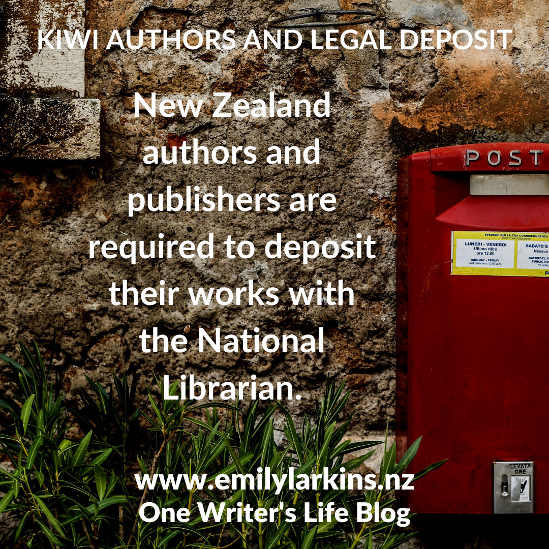 Picture old stone wall with post box - text says New Zealand authors and publishers are required to deposit their works with the National Librarian