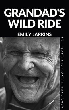 Picture Cover Grandad's Wild Ride. Black and white close-up of face of old man laughing.