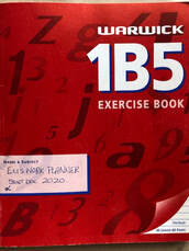 Image of an old red 1B5 ecercise book titled