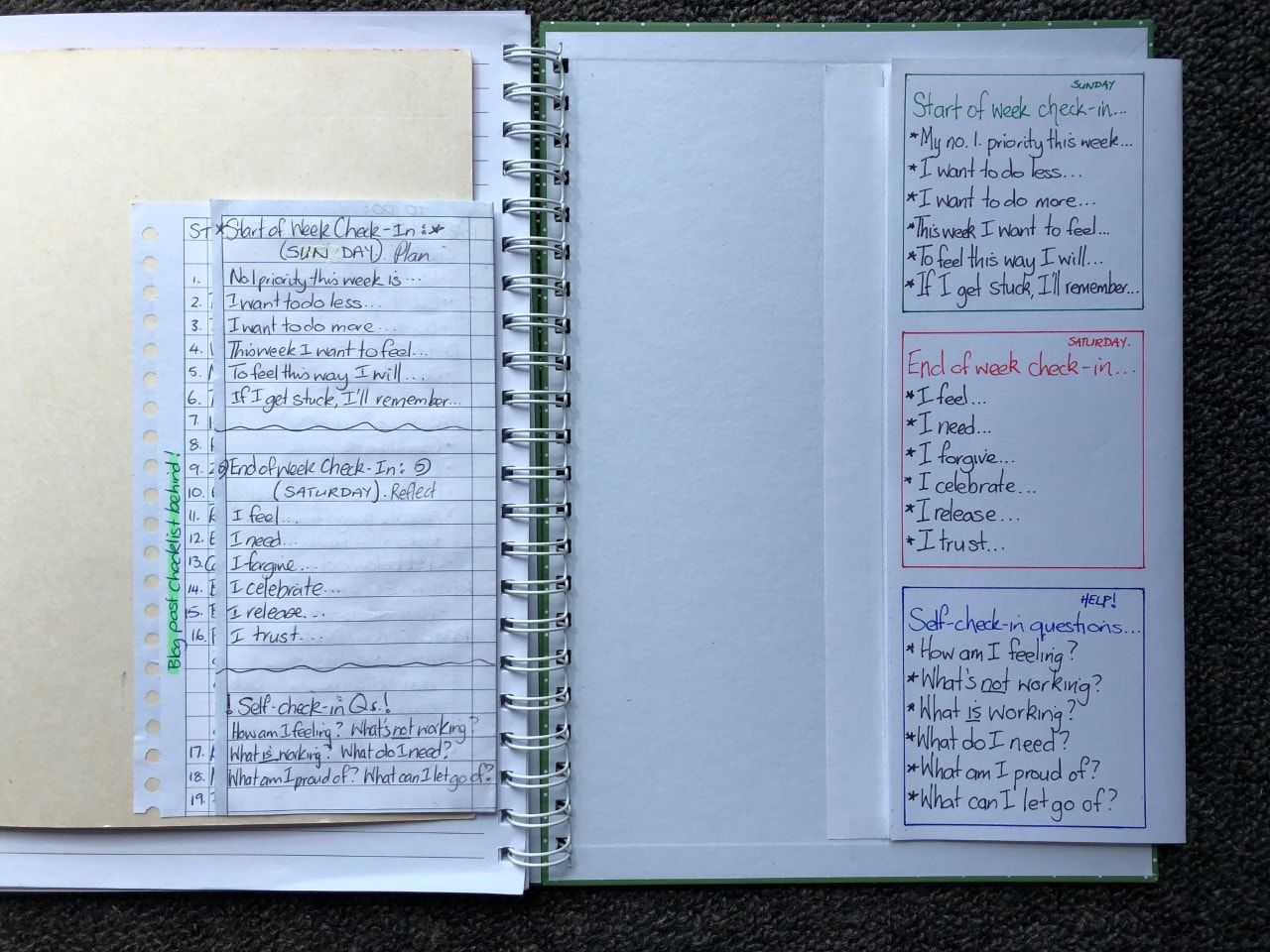 Complete new Planner Foldout with journaling prompts next to Emily's original journal with prototype Foldout.