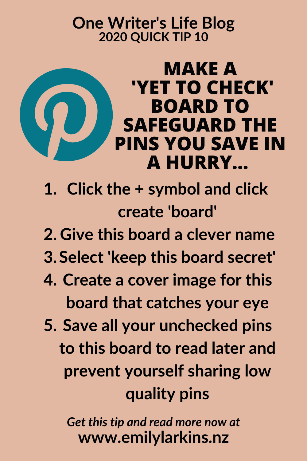 Picture quick instructions list for creating a Yet to Check board on Pinterest