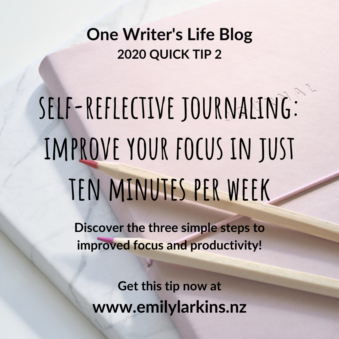 Title image for Self-Reflective Journaling blog by Emily Larkins. Text over image of journal with pencils
