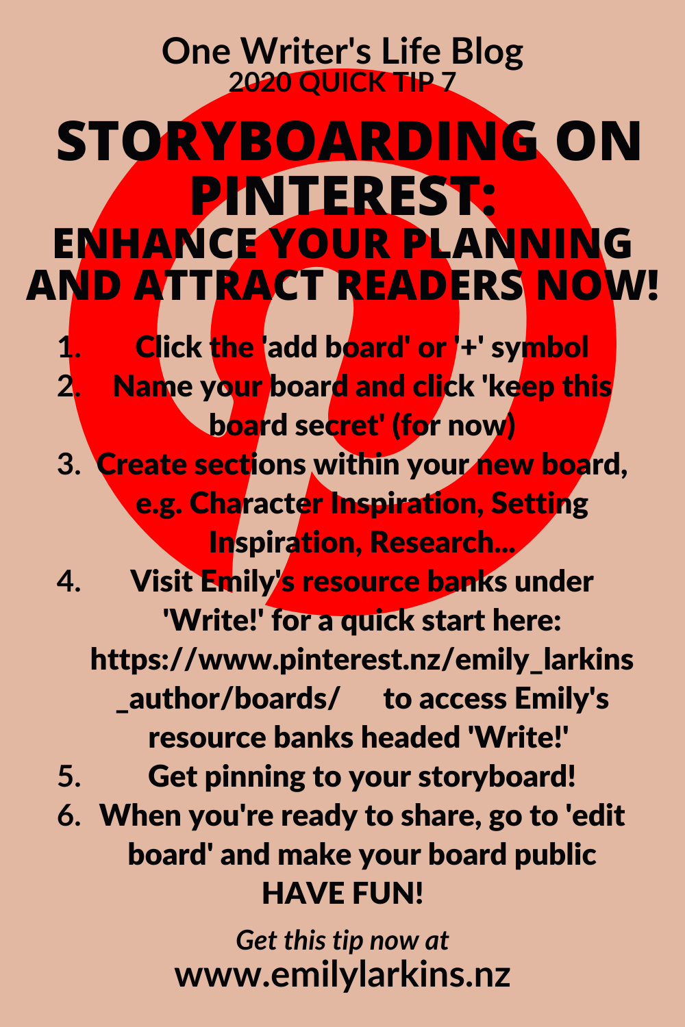 Picture Pinterest Graphic, a 'how to' quick tip sheet on storyboarding