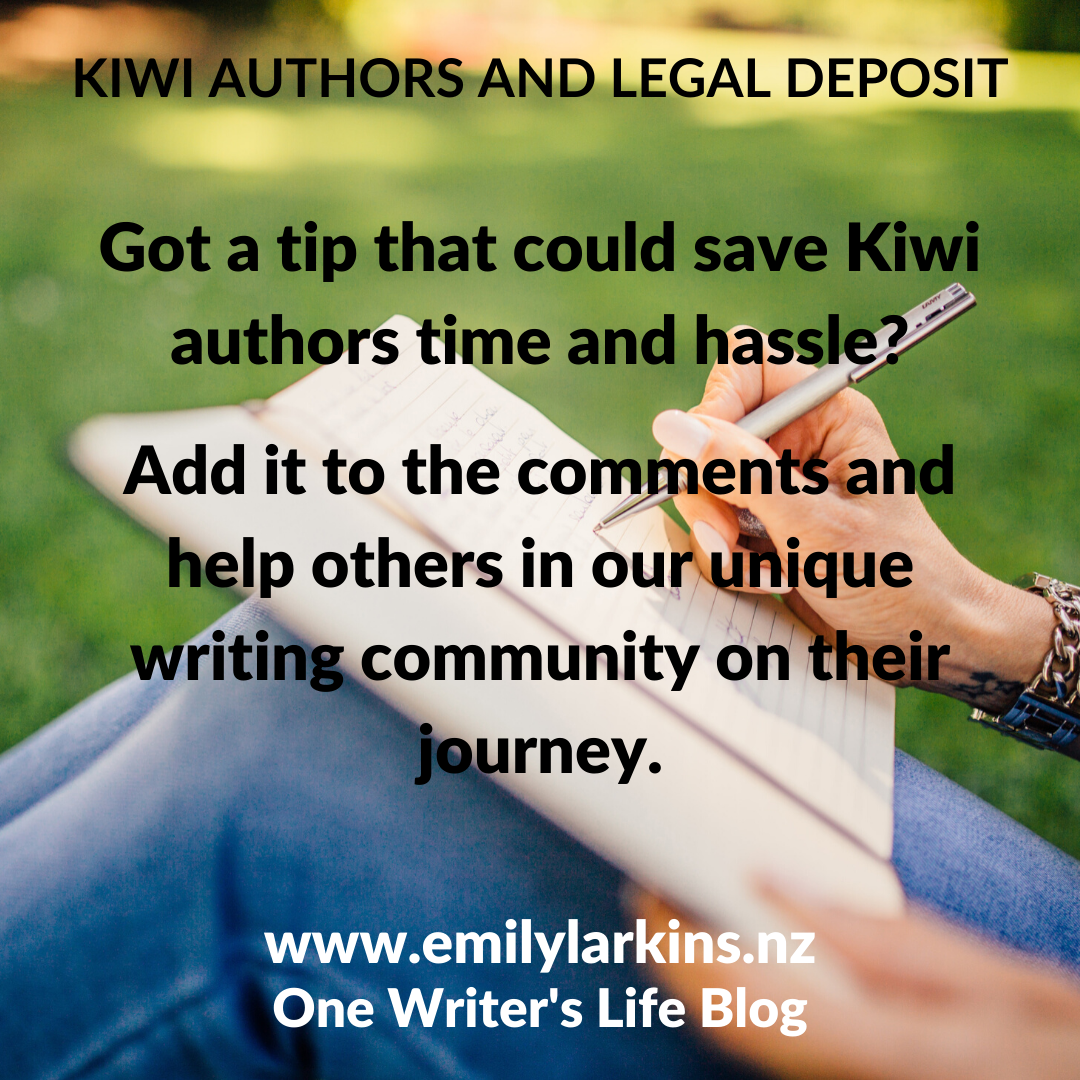 Picture person with notebook open on bent knees writing - text asks for tips that can help Kiwi authors out.