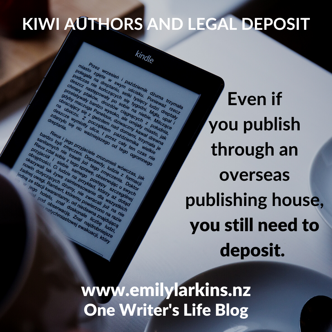 Picture hand holding kindle - even if you're a kiwi and publish through overseas publishing house, you still need to make a legal deposit.