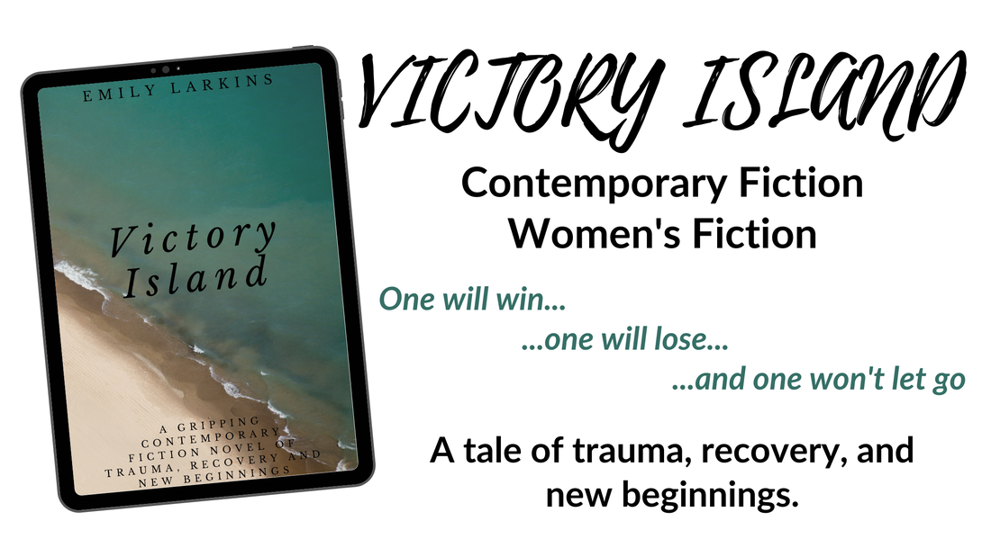 Victory Island page header, contemporary women's fiction book. A tale of trauma, recovery, and new beginnings.
