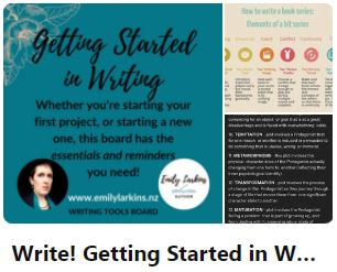 Picture link to Emily's 'Write' - Getting Started board on Pinterest
